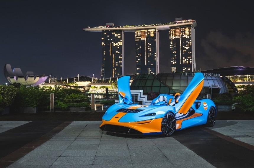 Siêu xe McLaren Elvo Gulf Theme từng xuất hiện tại Singapore vào tháng 5. Ảnh: Torque.